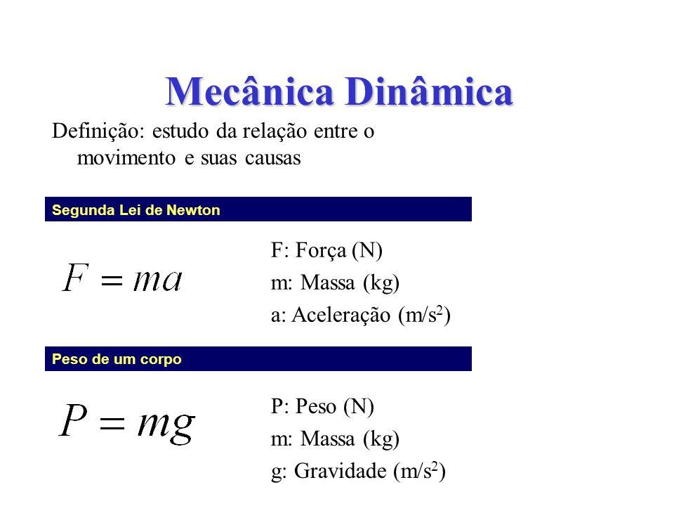 Mecânica Dinâmica Definição: estudo da relação entre o movimento e suas causas Segunda Lei de Newton Peso de um corpo F: Força (N) m: Massa (kg) a: Ac