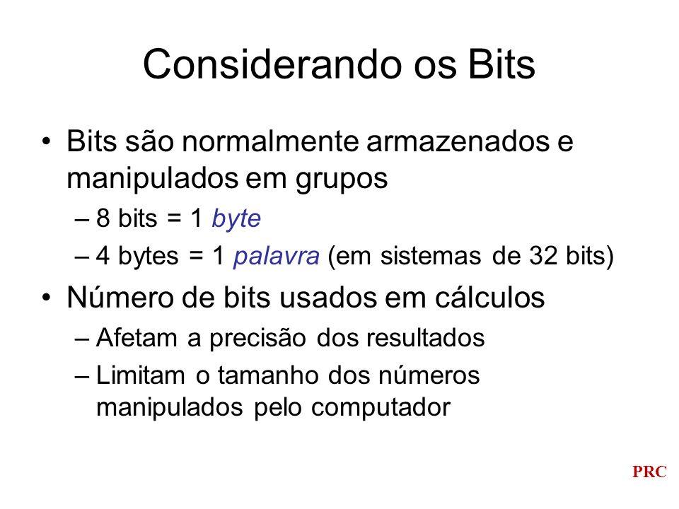 PRC Considerando os Bits Bits são normalmente armazenados e manipulados em grupos –8 bits = 1 byte –4 bytes = 1 palavra (em sistemas de 32 bits) Númer