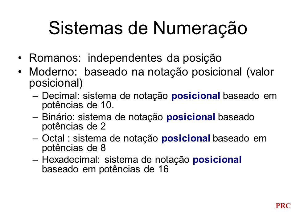 PRC Sistemas de Numeração Romanos: independentes da posição Moderno: baseado na notação posicional (valor posicional) –Decimal: sistema de notação pos