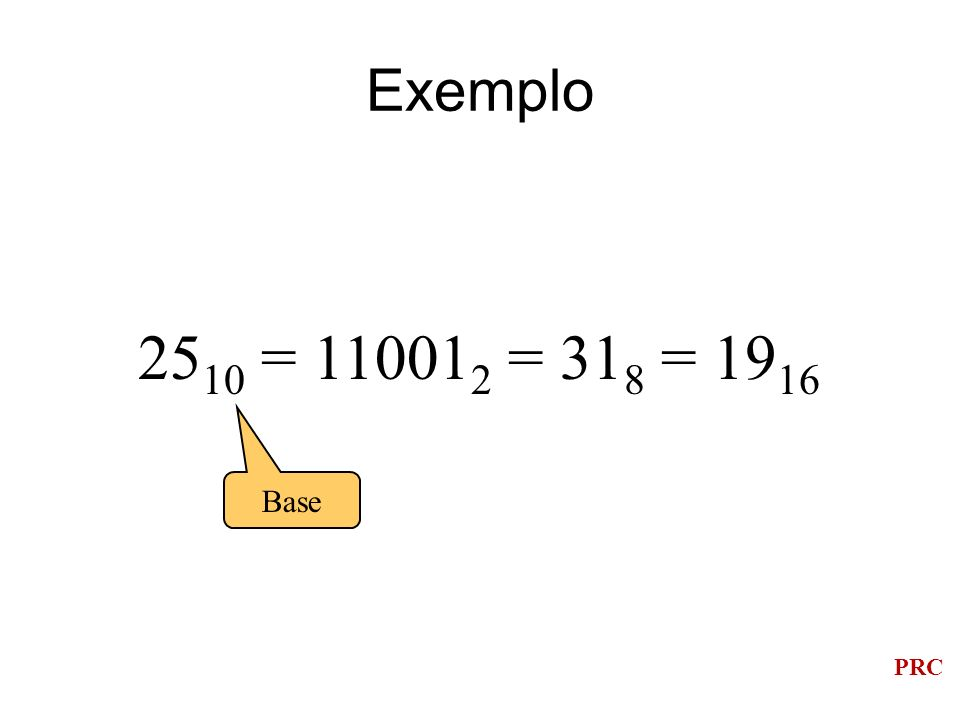 PRC Exemplo 25 10 = 11001 2 = 31 8 = 19 16 Base