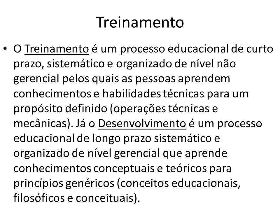 Treinamento O Treinamento é um processo educacional de curto prazo, sistemático e organizado de nível não gerencial pelos quais as pessoas aprendem conhecimentos e habilidades técnicas para um propósito definido (operações técnicas e mecânicas).