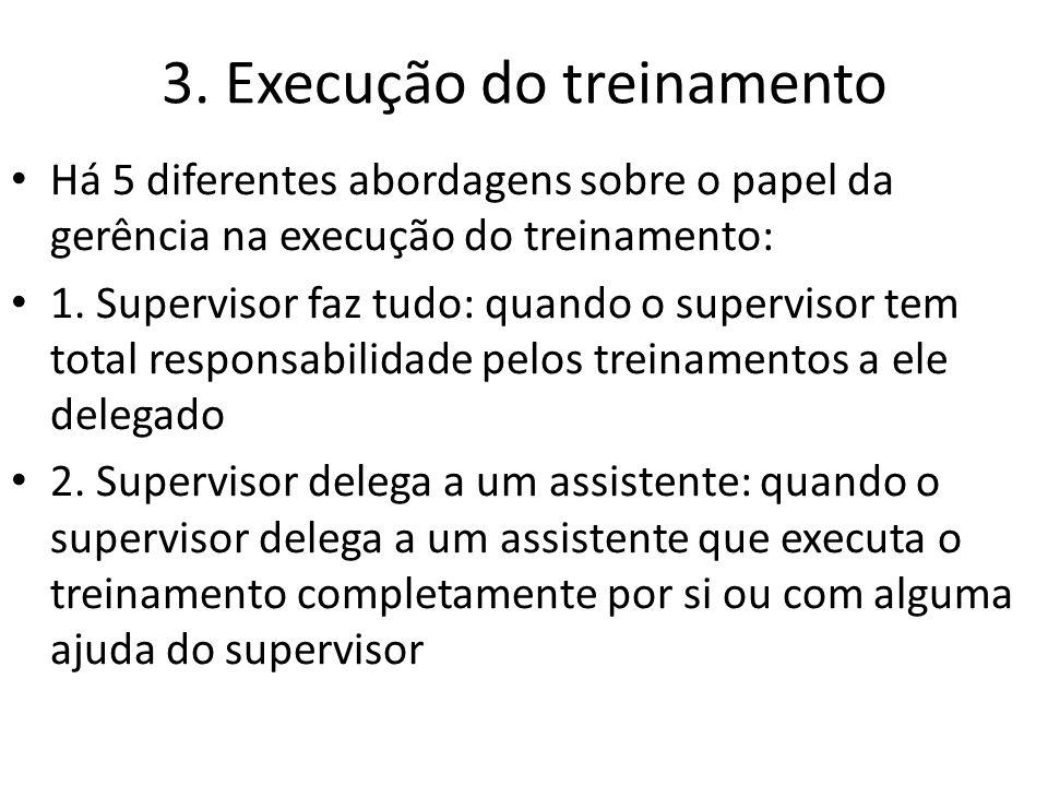 3. Execução do treinamento Há 5 diferentes abordagens sobre o papel da gerência na execução do treinamento: 1. Supervisor faz tudo: quando o superviso