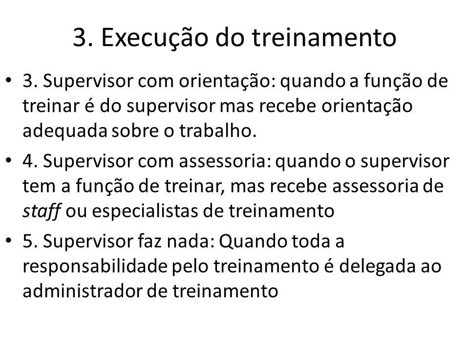 3. Execução do treinamento 3. Supervisor com orientação: quando a função de treinar é do supervisor mas recebe orientação adequada sobre o trabalho. 4
