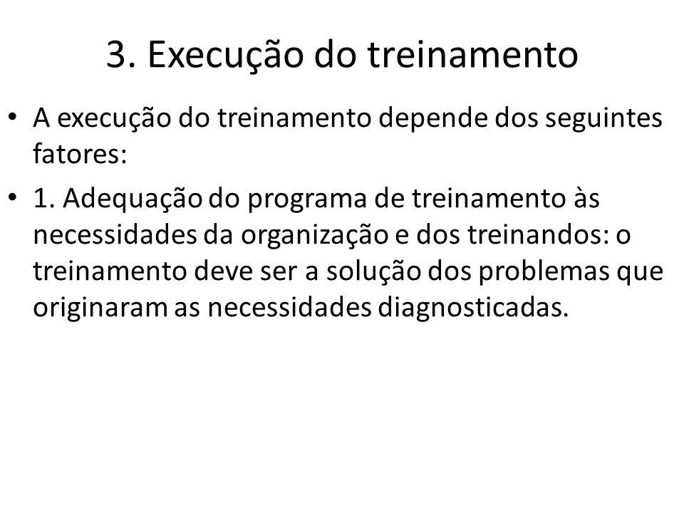 3. Execução do treinamento A execução do treinamento depende dos seguintes fatores: 1. Adequação do programa de treinamento às necessidades da organiz