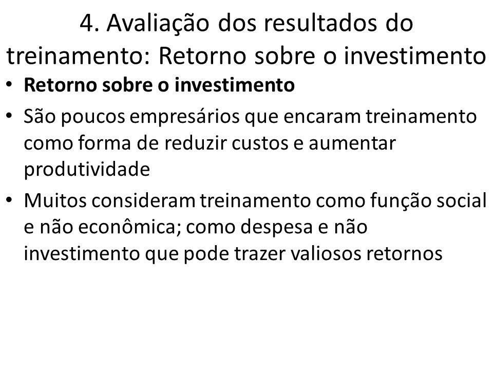 4. Avaliação dos resultados do treinamento: Retorno sobre o investimento Retorno sobre o investimento São poucos empresários que encaram treinamento c