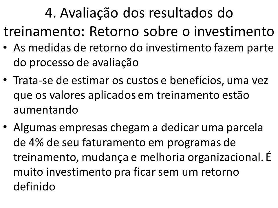 4. Avaliação dos resultados do treinamento: Retorno sobre o investimento As medidas de retorno do investimento fazem parte do processo de avaliação Tr
