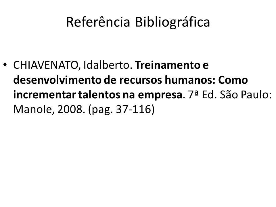 Referência Bibliográfica CHIAVENATO, Idalberto. Treinamento e desenvolvimento de recursos humanos: Como incrementar talentos na empresa. 7ª Ed. São Pa