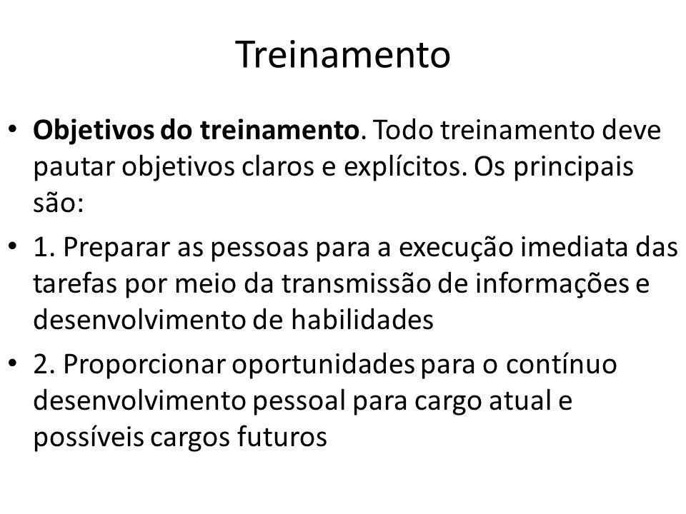 Treinamento Objetivos do treinamento.Todo treinamento deve pautar objetivos claros e explícitos.