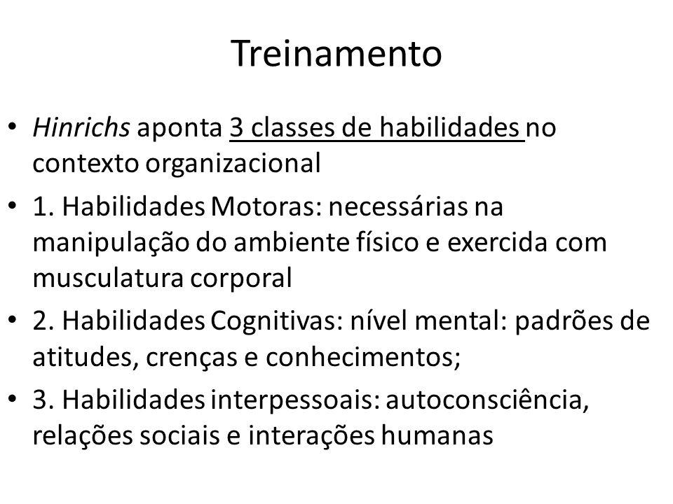 Treinamento Hinrichs aponta 3 classes de habilidades no contexto organizacional 1. Habilidades Motoras: necessárias na manipulação do ambiente físico