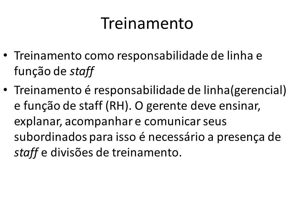 Treinamento Treinamento como responsabilidade de linha e função de staff Treinamento é responsabilidade de linha(gerencial) e função de staff (RH). O