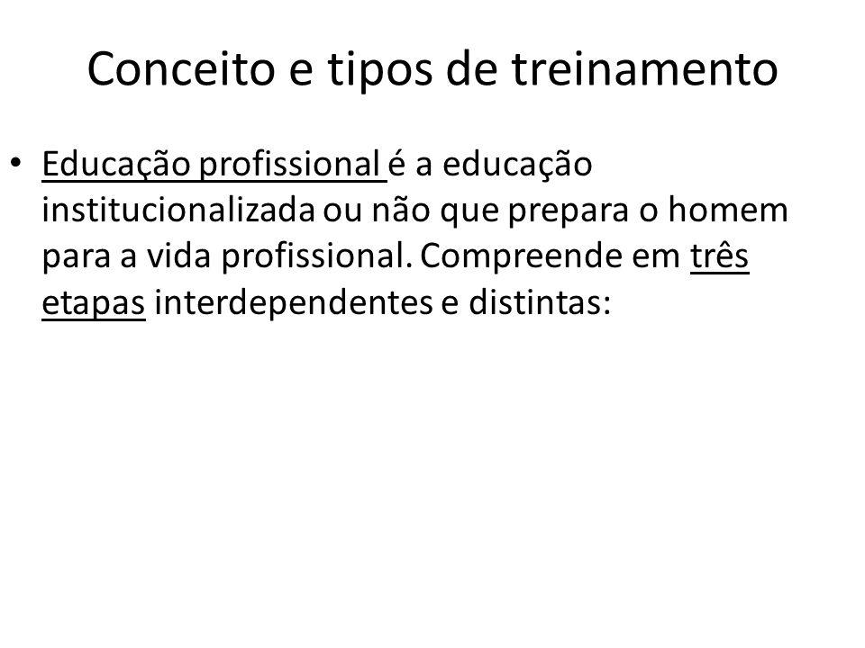 Conceito e tipos de treinamento Educação profissional é a educação institucionalizada ou não que prepara o homem para a vida profissional. Compreende