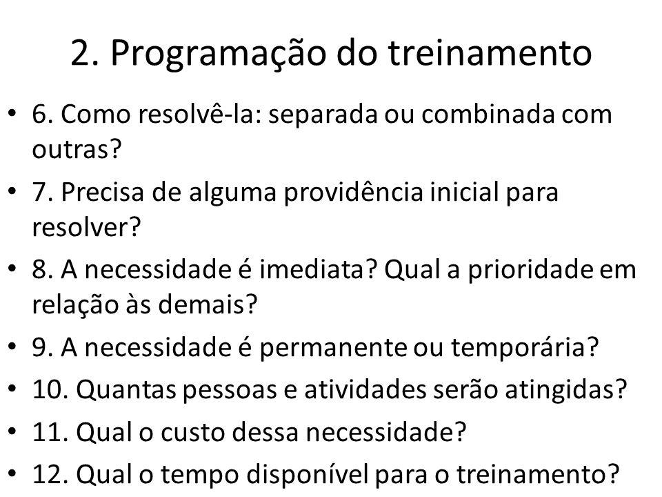 2. Programação do treinamento 6. Como resolvê-la: separada ou combinada com outras? 7. Precisa de alguma providência inicial para resolver? 8. A neces