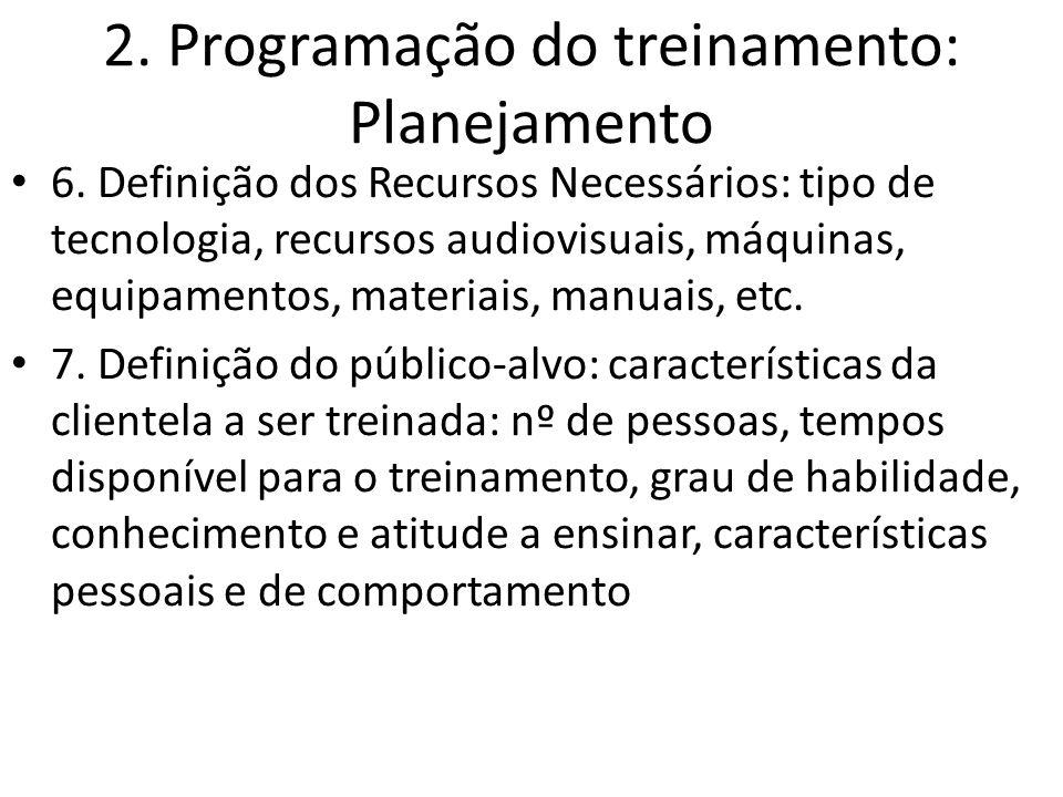2. Programação do treinamento: Planejamento 6. Definição dos Recursos Necessários: tipo de tecnologia, recursos audiovisuais, máquinas, equipamentos,