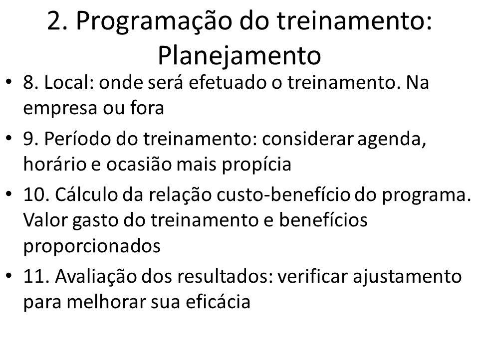 2. Programação do treinamento: Planejamento 8. Local: onde será efetuado o treinamento. Na empresa ou fora 9. Período do treinamento: considerar agend