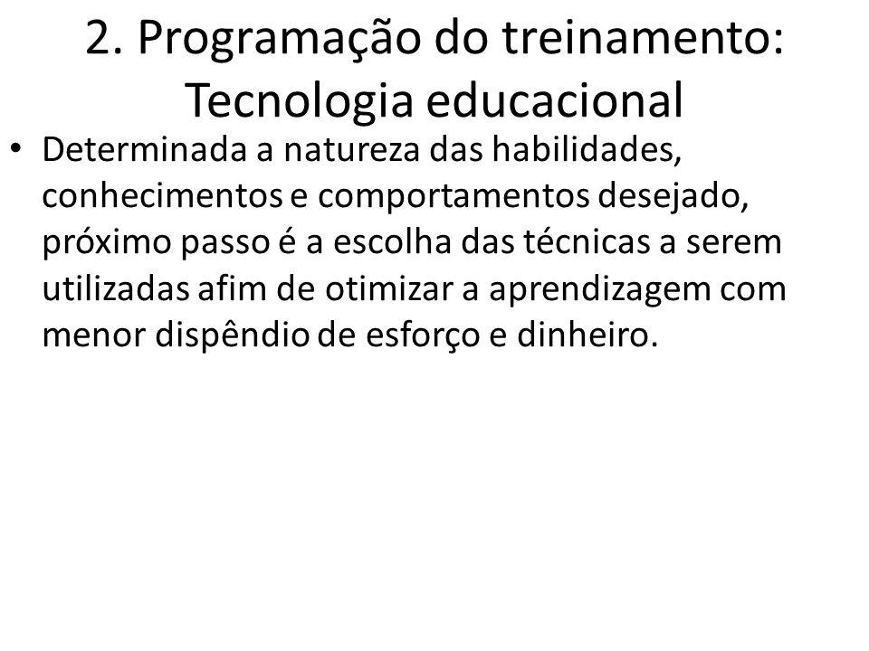 2. Programação do treinamento: Tecnologia educacional Determinada a natureza das habilidades, conhecimentos e comportamentos desejado, próximo passo é