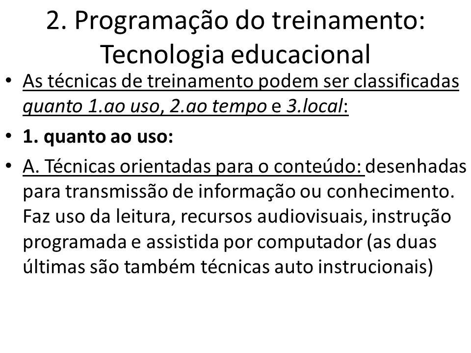 2. Programação do treinamento: Tecnologia educacional As técnicas de treinamento podem ser classificadas quanto 1.ao uso, 2.ao tempo e 3.local: 1. qua