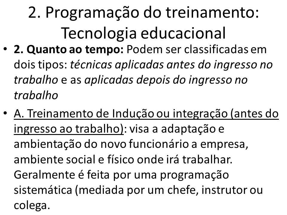 2. Programação do treinamento: Tecnologia educacional 2. Quanto ao tempo: Podem ser classificadas em dois tipos: técnicas aplicadas antes do ingresso