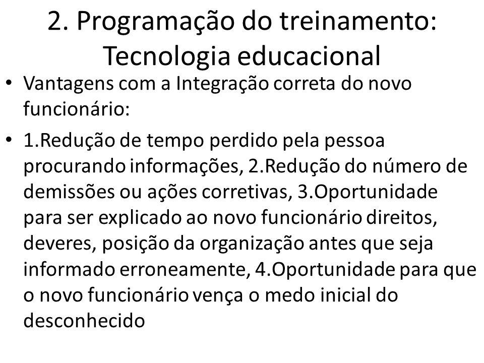 2. Programação do treinamento: Tecnologia educacional Vantagens com a Integração correta do novo funcionário: 1.Redução de tempo perdido pela pessoa p