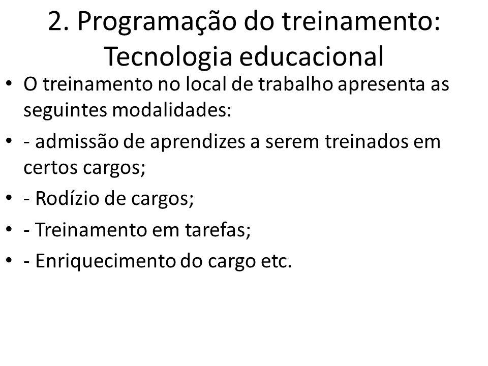 2. Programação do treinamento: Tecnologia educacional O treinamento no local de trabalho apresenta as seguintes modalidades: - admissão de aprendizes