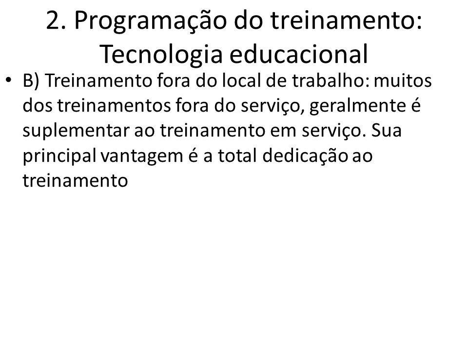 2. Programação do treinamento: Tecnologia educacional B) Treinamento fora do local de trabalho: muitos dos treinamentos fora do serviço, geralmente é