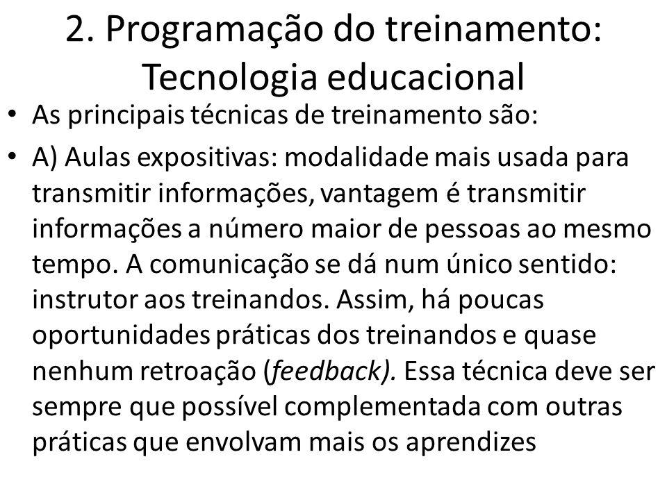 2. Programação do treinamento: Tecnologia educacional As principais técnicas de treinamento são: A) Aulas expositivas: modalidade mais usada para tran