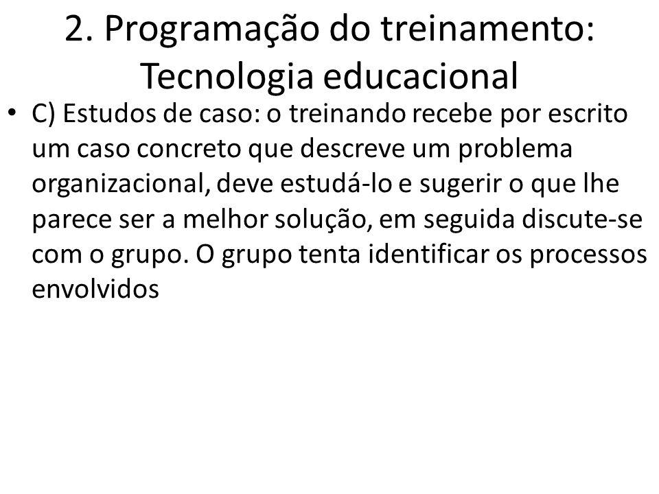 2. Programação do treinamento: Tecnologia educacional C) Estudos de caso: o treinando recebe por escrito um caso concreto que descreve um problema org