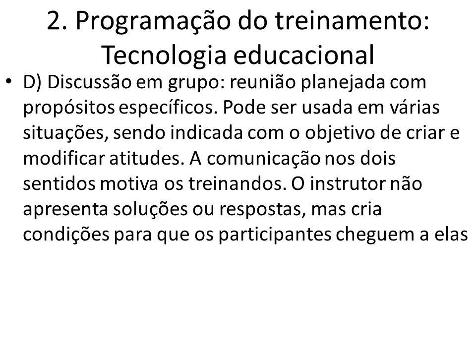 2. Programação do treinamento: Tecnologia educacional D) Discussão em grupo: reunião planejada com propósitos específicos. Pode ser usada em várias si