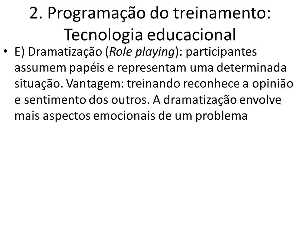 2. Programação do treinamento: Tecnologia educacional E) Dramatização (Role playing): participantes assumem papéis e representam uma determinada situa