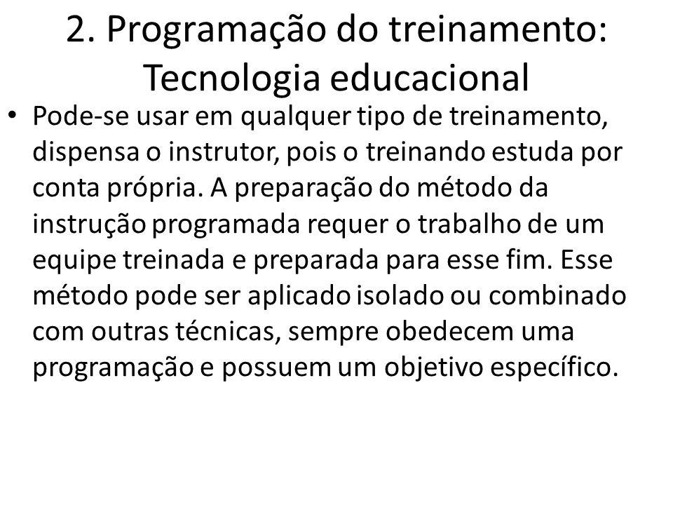 2. Programação do treinamento: Tecnologia educacional Pode-se usar em qualquer tipo de treinamento, dispensa o instrutor, pois o treinando estuda por