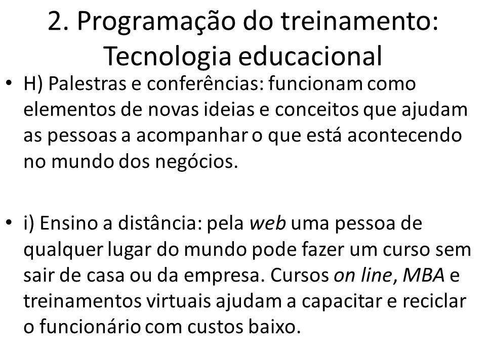 2. Programação do treinamento: Tecnologia educacional H) Palestras e conferências: funcionam como elementos de novas ideias e conceitos que ajudam as