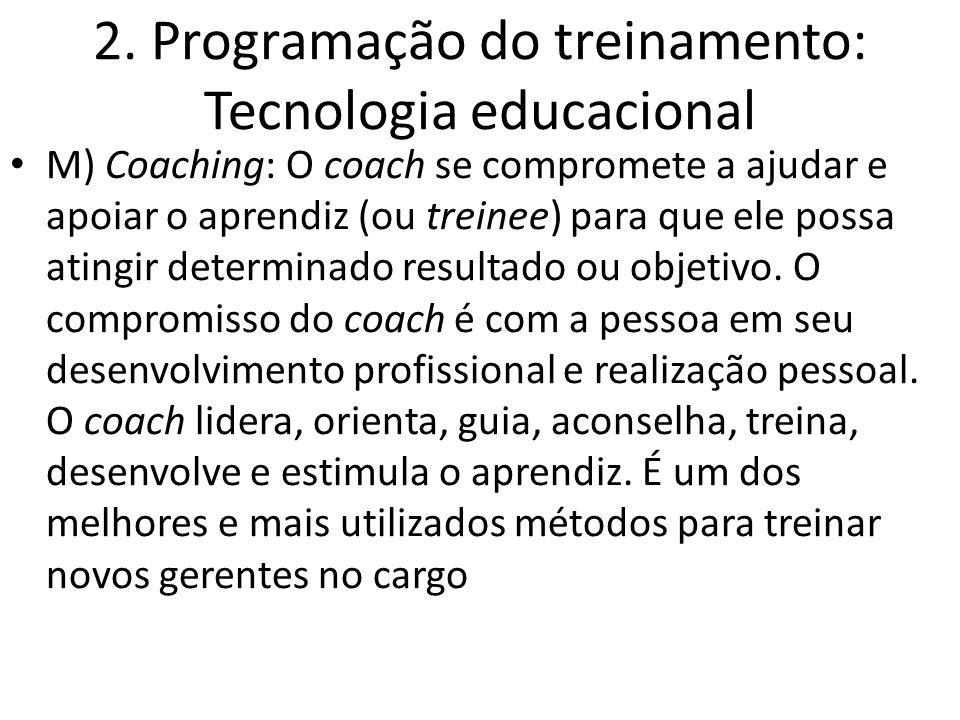 2. Programação do treinamento: Tecnologia educacional M) Coaching: O coach se compromete a ajudar e apoiar o aprendiz (ou treinee) para que ele possa