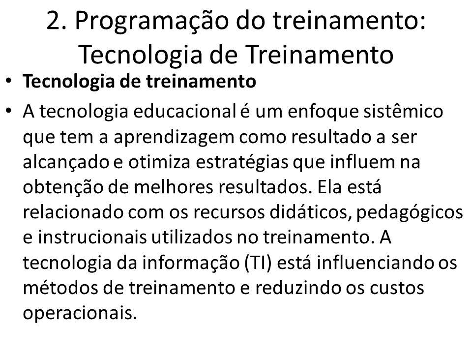 2. Programação do treinamento: Tecnologia de Treinamento Tecnologia de treinamento A tecnologia educacional é um enfoque sistêmico que tem a aprendiza