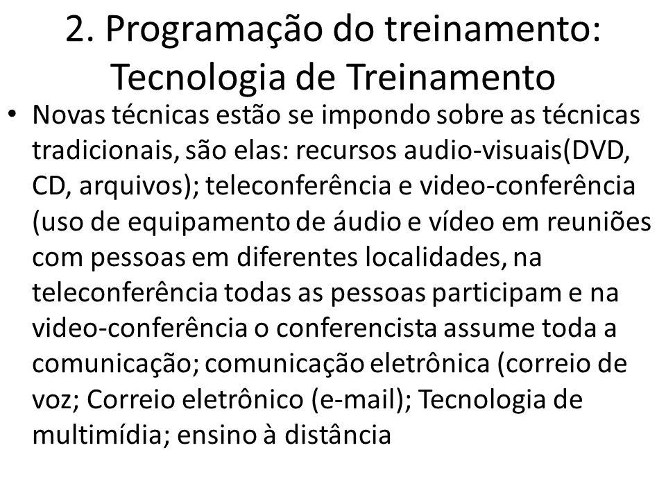 2. Programação do treinamento: Tecnologia de Treinamento Novas técnicas estão se impondo sobre as técnicas tradicionais, são elas: recursos audio-visu