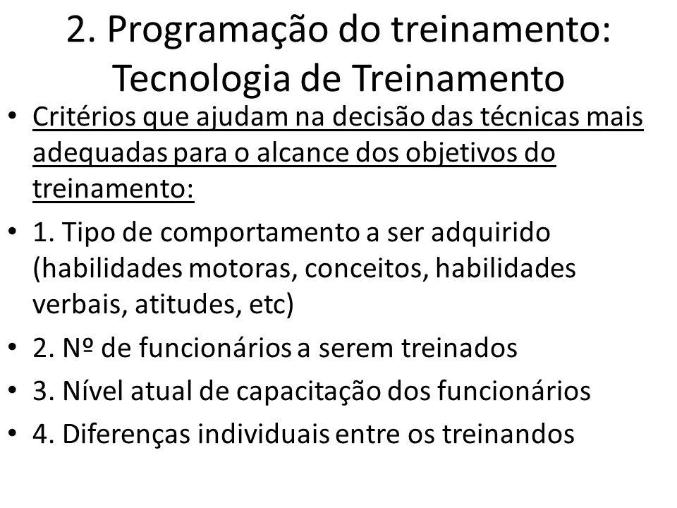2. Programação do treinamento: Tecnologia de Treinamento Critérios que ajudam na decisão das técnicas mais adequadas para o alcance dos objetivos do t