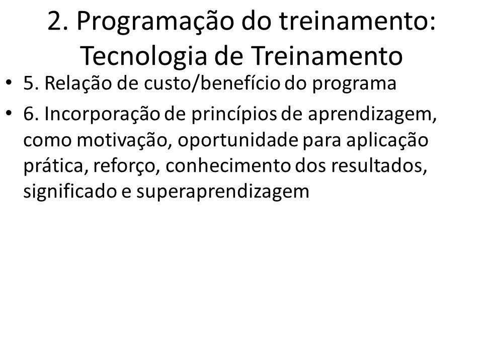 2. Programação do treinamento: Tecnologia de Treinamento 5. Relação de custo/benefício do programa 6. Incorporação de princípios de aprendizagem, como