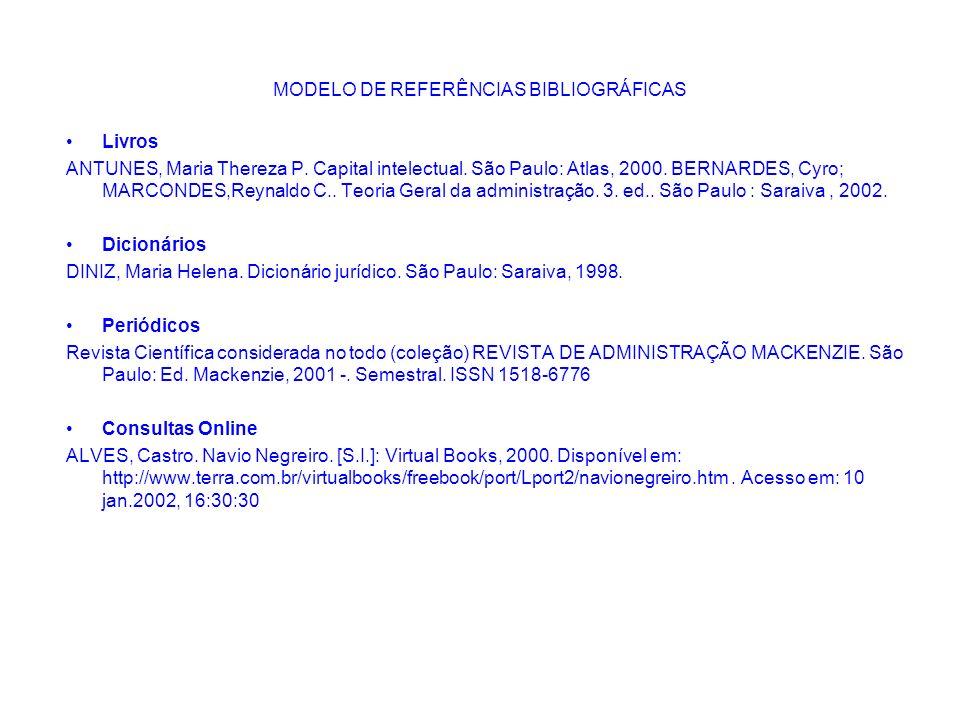 MODELO DE REFERÊNCIAS BIBLIOGRÁFICAS Livros ANTUNES, Maria Thereza P. Capital intelectual. São Paulo: Atlas, 2000. BERNARDES, Cyro; MARCONDES,Reynaldo