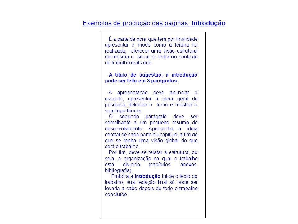 Exemplos de produção das páginas: Introdução É a parte da obra que tem por finalidade apresentar o modo como a leitura foi realizada, oferecer uma vis