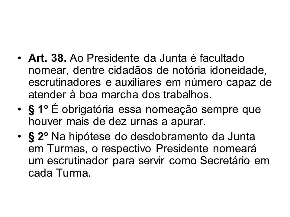 Art. 38. Ao Presidente da Junta é facultado nomear, dentre cidadãos de notória idoneidade, escrutinadores e auxiliares em número capaz de atender à bo