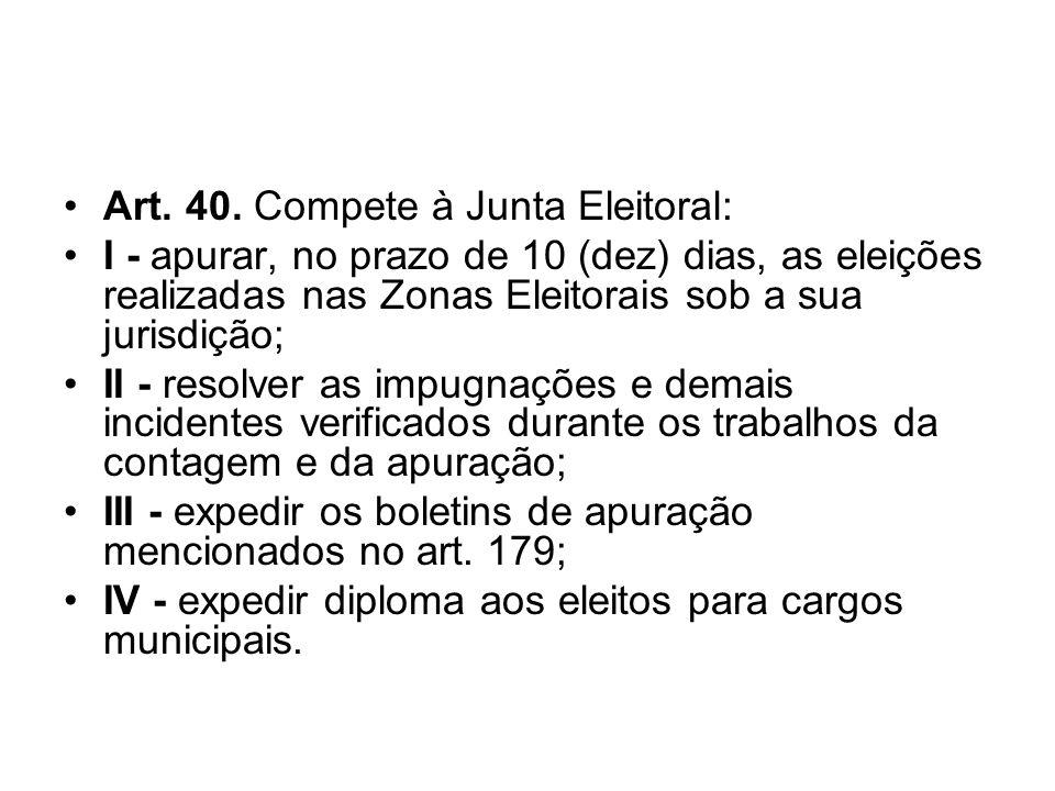 Art. 40. Compete à Junta Eleitoral: I - apurar, no prazo de 10 (dez) dias, as eleições realizadas nas Zonas Eleitorais sob a sua jurisdição; II - reso