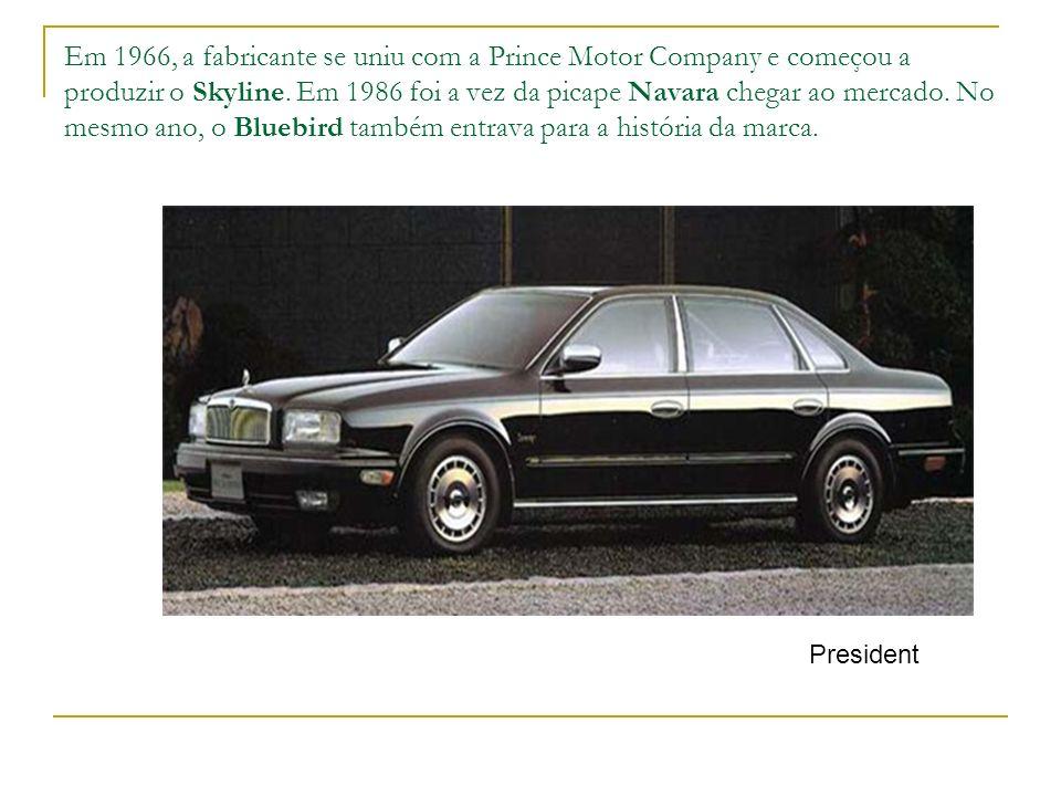 Em 1966, a fabricante se uniu com a Prince Motor Company e começou a produzir o Skyline. Em 1986 foi a vez da picape Navara chegar ao mercado. No mesm