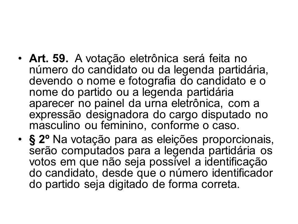 Art. 59. A votação eletrônica será feita no número do candidato ou da legenda partidária, devendo o nome e fotografia do candidato e o nome do partido