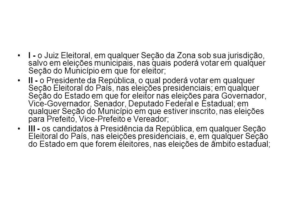 I - o Juiz Eleitoral, em qualquer Seção da Zona sob sua jurisdição, salvo em eleições municipais, nas quais poderá votar em qualquer Seção do Municípi
