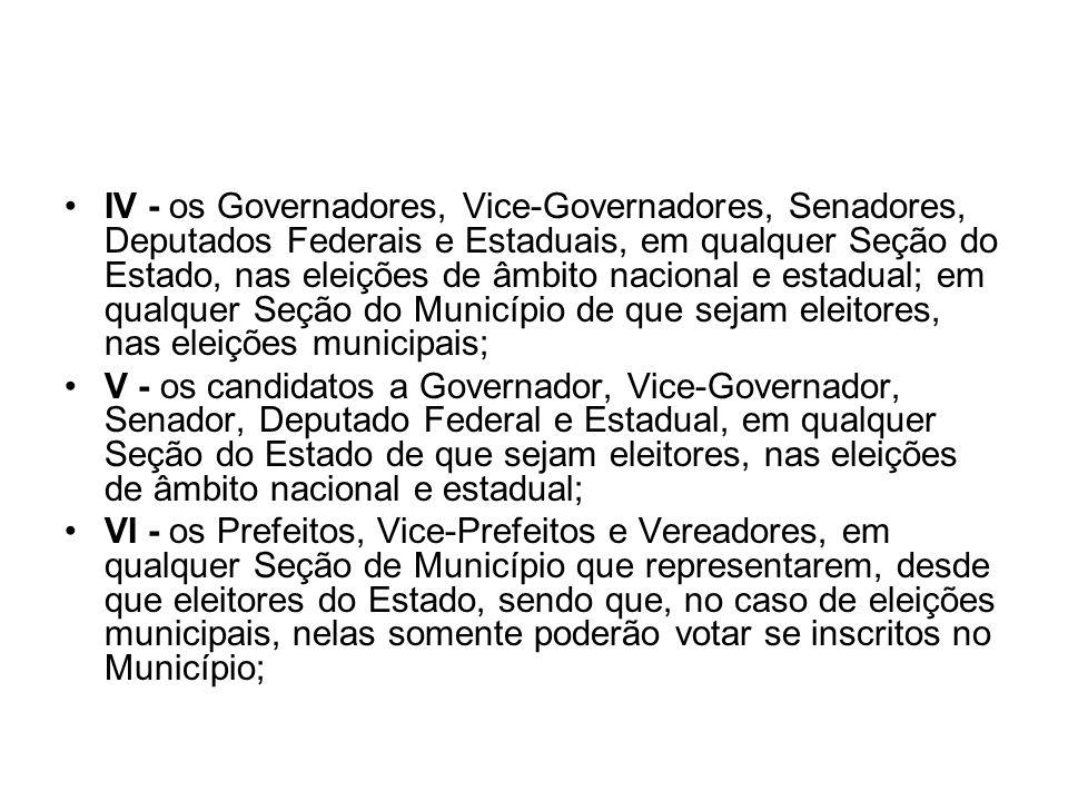 IV - os Governadores, Vice-Governadores, Senadores, Deputados Federais e Estaduais, em qualquer Seção do Estado, nas eleições de âmbito nacional e est