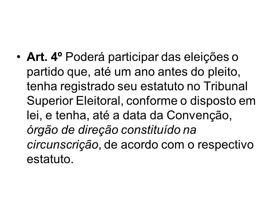 Art. 4º Poderá participar das eleições o partido que, até um ano antes do pleito, tenha registrado seu estatuto no Tribunal Superior Eleitoral, confor