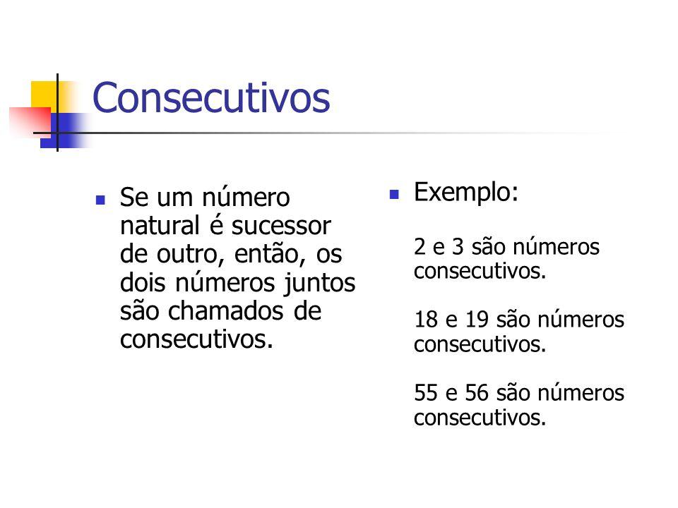 Consecutivos Se um número natural é sucessor de outro, então, os dois números juntos são chamados de consecutivos. Exemplo: 2 e 3 são números consecut