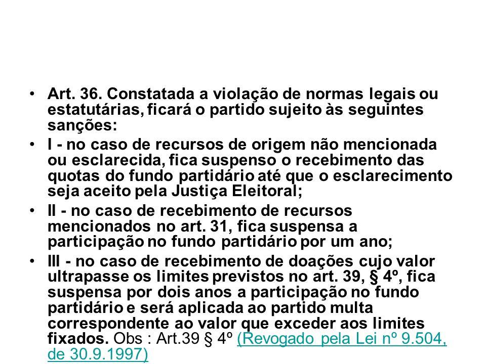 Art. 36. Constatada a violação de normas legais ou estatutárias, ficará o partido sujeito às seguintes sanções: I - no caso de recursos de origem não