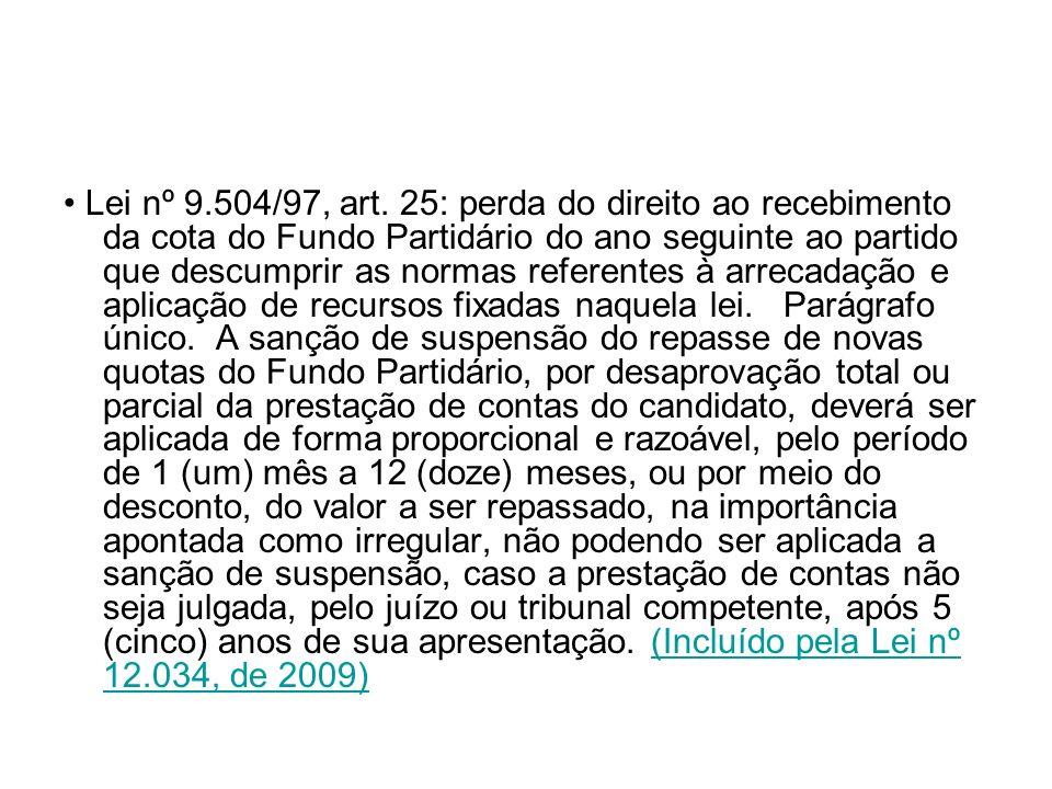Lei nº 9.504/97, art. 25: perda do direito ao recebimento da cota do Fundo Partidário do ano seguinte ao partido que descumprir as normas referentes à