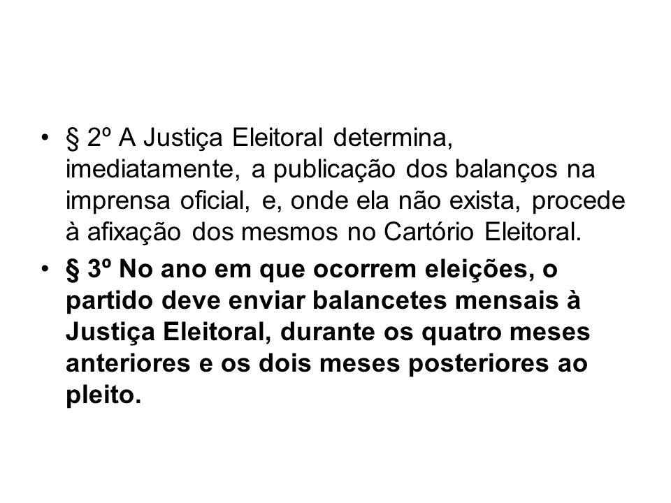 § 2º A Justiça Eleitoral determina, imediatamente, a publicação dos balanços na imprensa oficial, e, onde ela não exista, procede à afixação dos mesmo