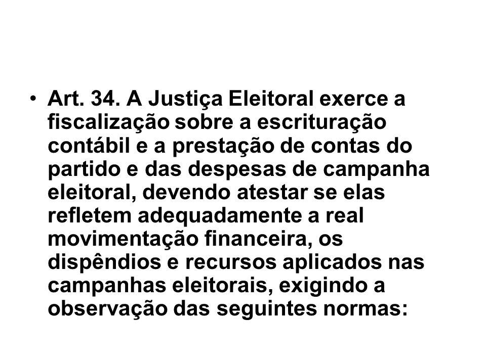 Art. 34. A Justiça Eleitoral exerce a fiscalização sobre a escrituração contábil e a prestação de contas do partido e das despesas de campanha eleitor