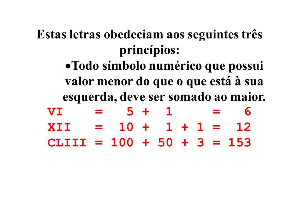 Estas letras obedeciam aos seguintes três princípios: Todo símbolo numérico que possui valor menor do que o que está à sua esquerda, deve ser somado a